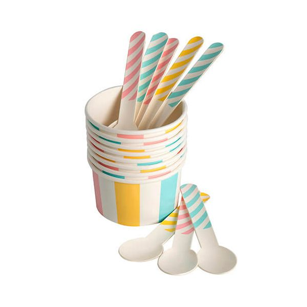 Eddingtons Paper Ice Cream Cups & Spoons Set Of 8