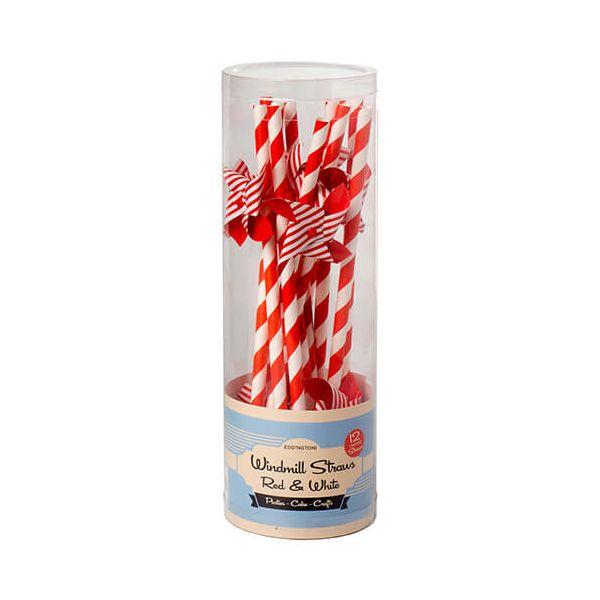 Eddingtons Red & White Windmill Straws 12 Pack