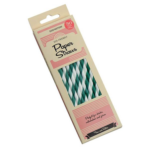 Eddingtons Paper Straws Green Stripe 30 Pack
