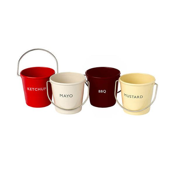 Eddingtons Ranch Ketchup, Mayo, BBQ, Mustard Buckets Set Of 4