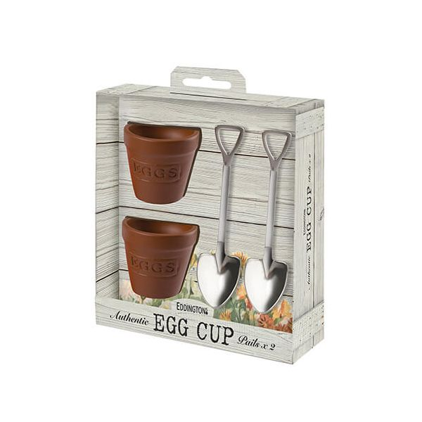 Eddingtons Flower Pot Set Of 2 Egg Cups And Spoons
