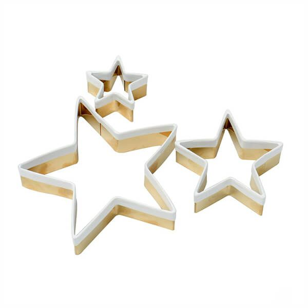 Eddingtons Set of 3 Brass Star Cookie Cutters With White Top