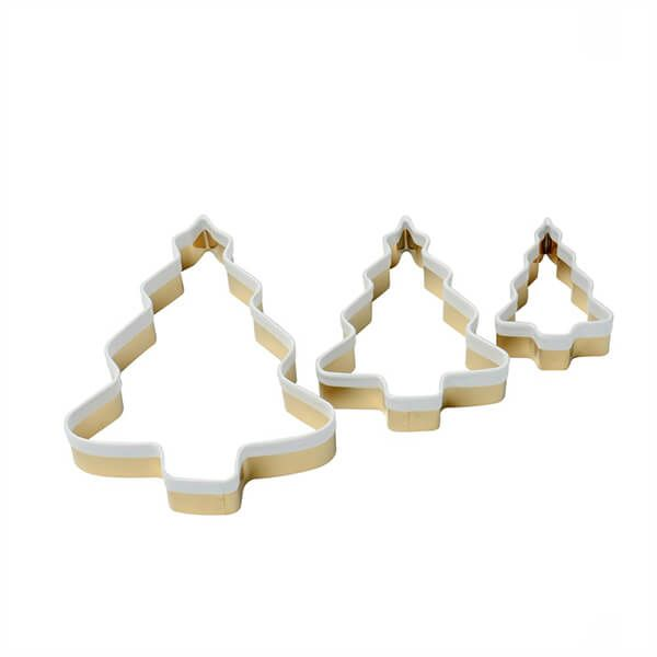 Eddingtons Set of 3 Brass Christmas Tree Cookie Cutters With White Top