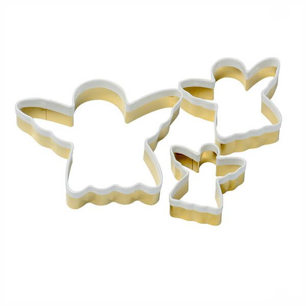 Eddingtons Set of 3 Brass Angel Cookie Cutters With White Top