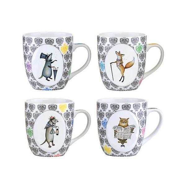Clare Mackie Set of 4 Funimals Mugs 400 ml / 14oz