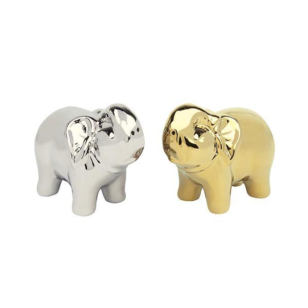 BIA Elephant Salt & Pepper Shakers Gold & Platinum