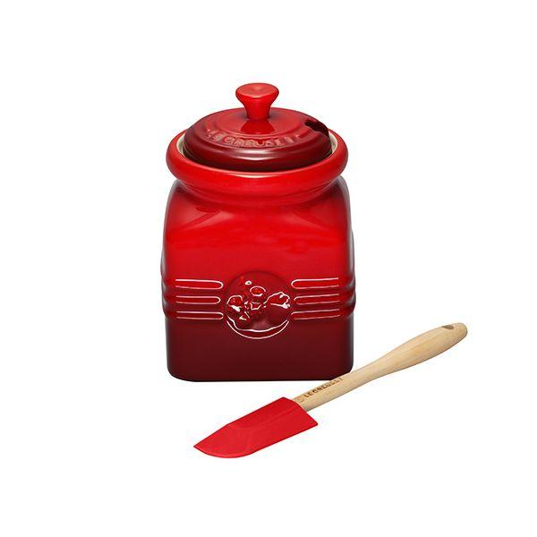 Le Creuset Cerise Stoneware Berry Jam Jar & Spreader