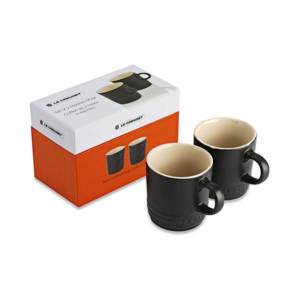 Le Creuset Satin Black Stoneware Espresso Mug Set Of 2 Gift Box