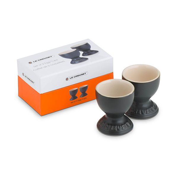 Le Creuset Satin Black Stoneware Egg Cup Set Of 2 Gift Box