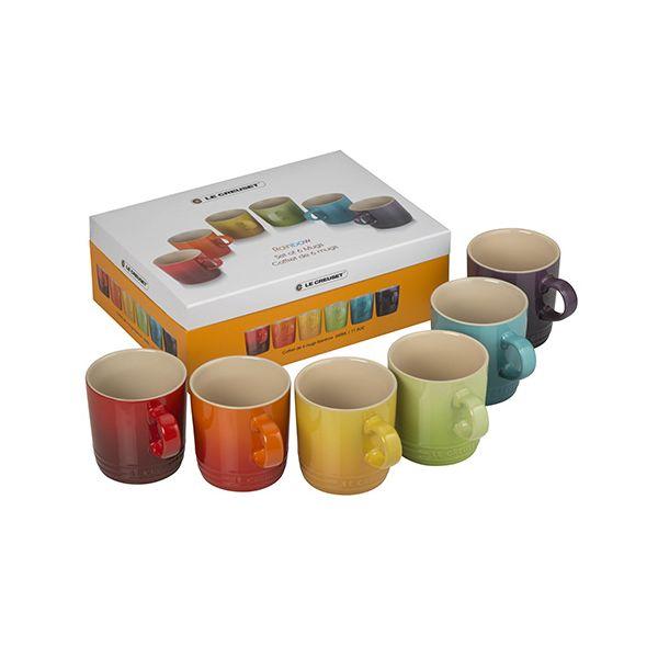 Le Creuset Rainbow Stoneware Set of 6 Mugs