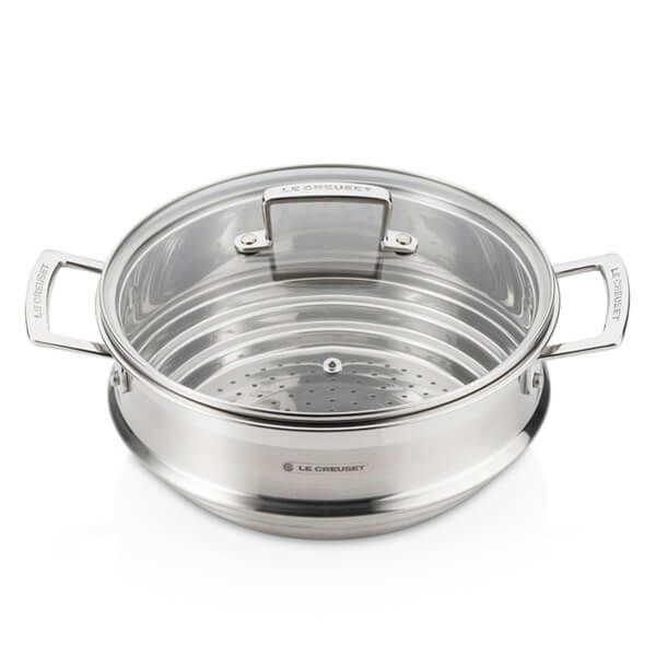Le Creuset Stainless Steel Large Multi-Steamer with Glass Lid