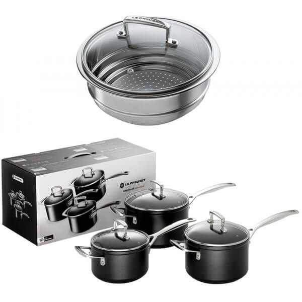 Le Creuset Toughened Non-Stick 3 Saucepan Set With FREE Gift