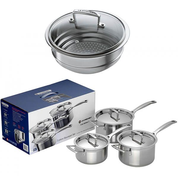 Le Creuset 3-ply Stainless Steel 3 Saucepan Set With FREE Gift