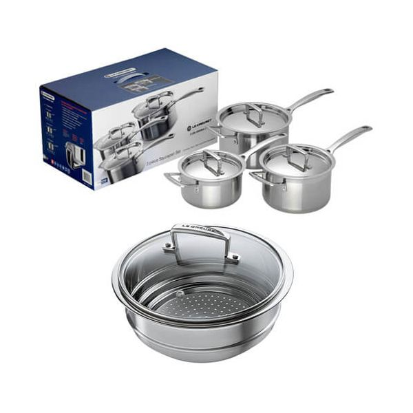 Le Creuset 3-ply Stainless Steel 3 Saucepan Set With FREE Multi Steamer Insert