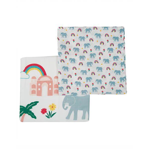 Frugi Organic Elephant Multipack Lovely 2 Pack Muslins