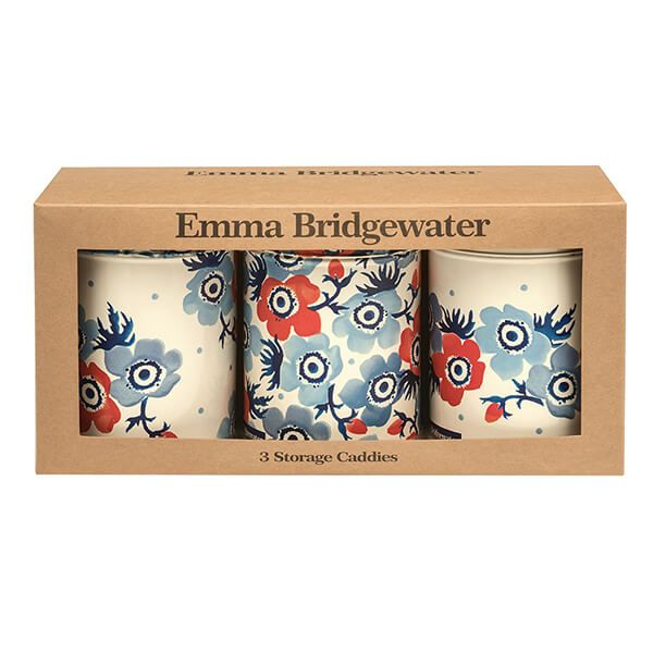 Emma Bridgewater Anemone Set of 3 Round Storage Tins