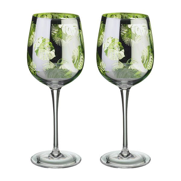 Artland Tropical Leaves Set Of 2 Wine Glasses