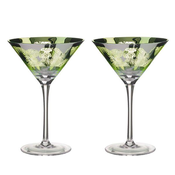 Artland Tropical Leaves Set Of 2 Martini Glasses
