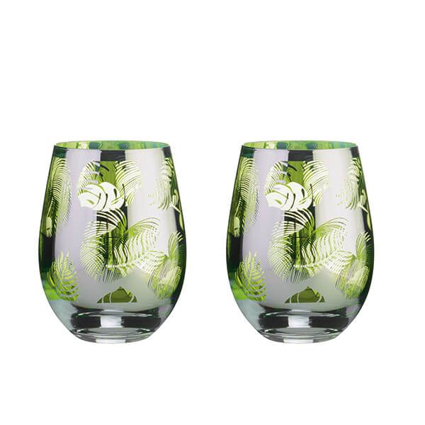 Artland Tropical Leaves Set Of 2 DOF Tumblers