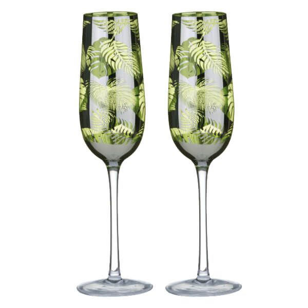 Artland Set of 2 Tropical Leaves Champagne Flutes
