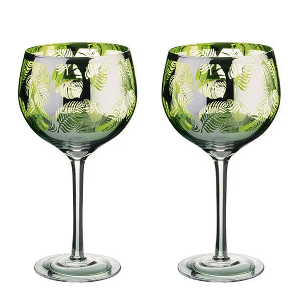 Artland Tropical Leaves Set Of 2 Gin Glasses