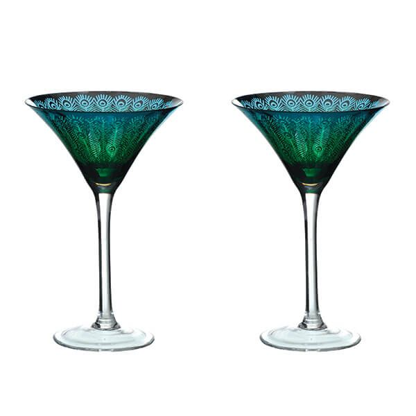 Artland Peacock Set of 2 Martini Glasses