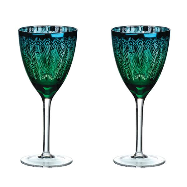 Artland Peacock Set of 2 Wine Glasses