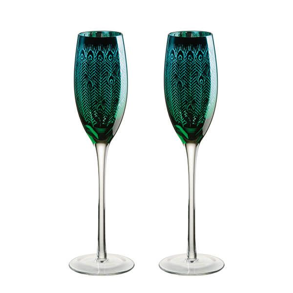 Artland Peacock Set of 2 Champagne Flutes