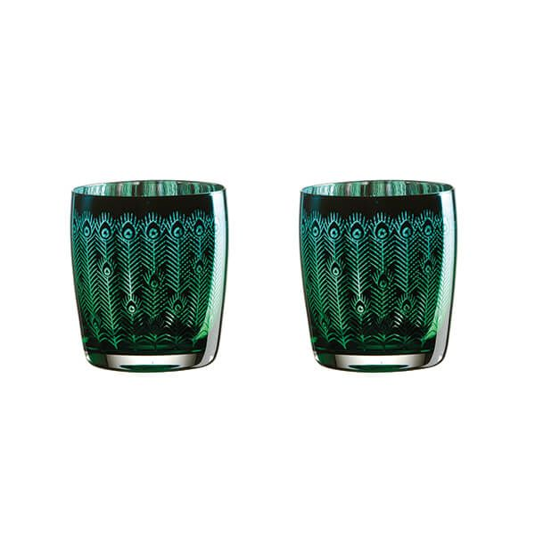 Artland Peacock Set of 2 DOF Tumblers