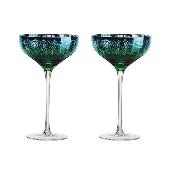 Artland Peacock Set of 2 Champagne Saucers