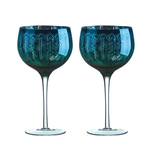 Artland Peacock Set of 2 Gin Glasses