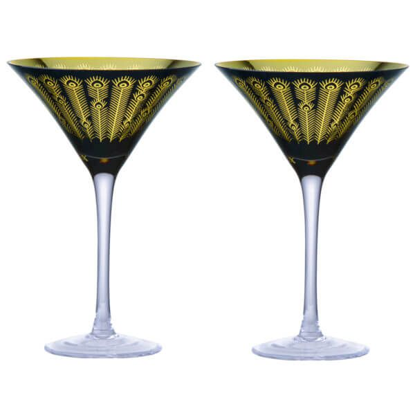 Artland Set of 2 Midnight Peacock Cocktail Glasses