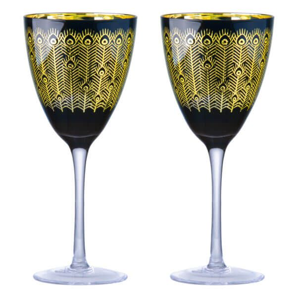 Artland Set of 2 Midnight Peacock Wine Glasses