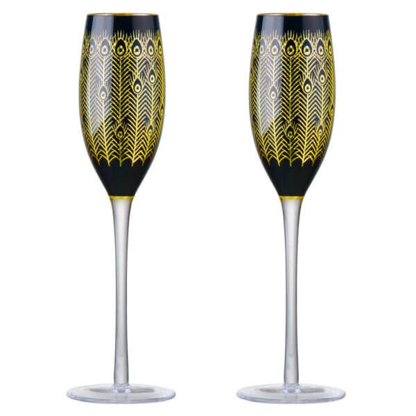 Artland Set of 2 Midnight Peacock Champagne Flutes