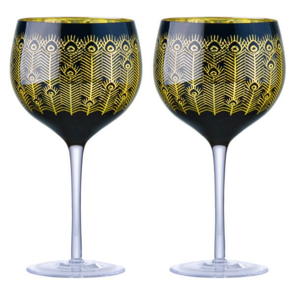 Artland Set of 2 Midnight Peacock Gin Glasses