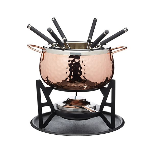 Artesa Hammered Copper Fondue Set