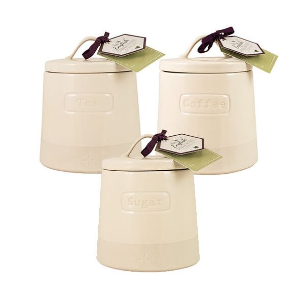 English Tableware Company Artisan Cream Tea, Coffee & Sugar Canister 3 Piece Set