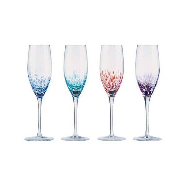 Anton Studios Set Of 4 Speckle Champagne Flutes