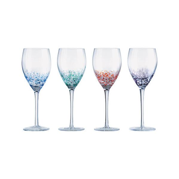 Anton Studios Set Of 4 Speckle Wine Glasses
