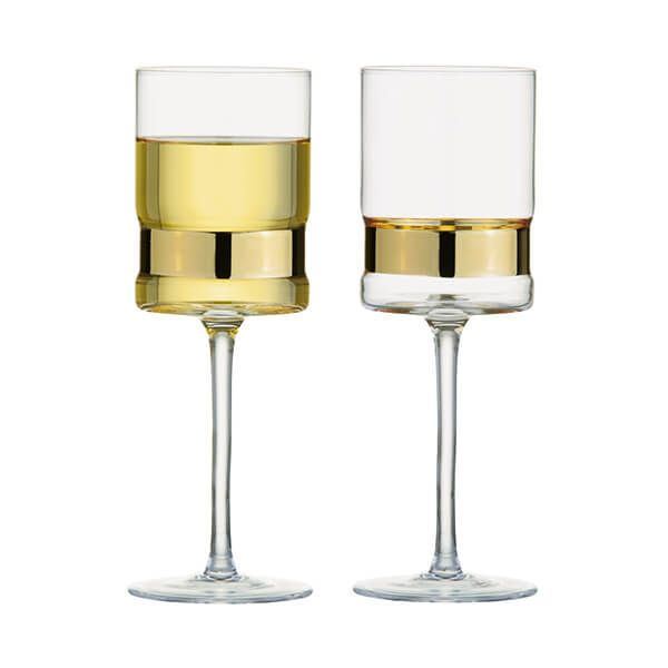 Anton Studios Set of 2 SoHo Wine Glasses Gold