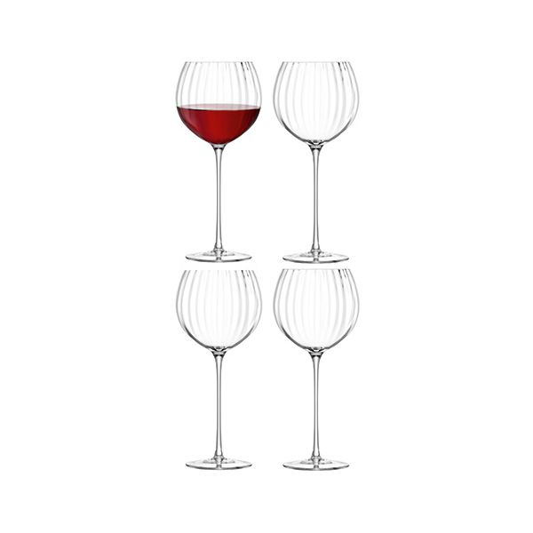 LSA Aurelia Balloon Wine Glass 570ml Clear Optic Set Of Four
