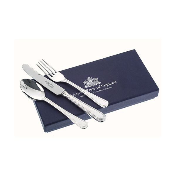 Arthur Price Of England 18/10 Stainless Steel Bead Design Childrens 3 Piece Cutlery Gift Box Set