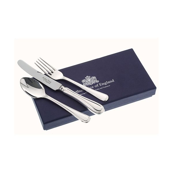 Arthur Price Of England Silver Plated Britannia Design Childrens 3 Piece Cutlery Gift Box Set