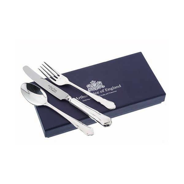 Arthur Price Of England 18/10 Stainless Steel Dubarry Design Childrens 3 Piece Cutlery Gift Box Set