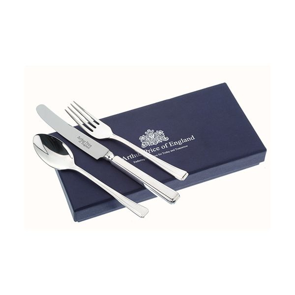 Arthur Price Of England 18/10 Stainless Steel Harley Design Childrens 3 Piece Cutlery Gift Box Set