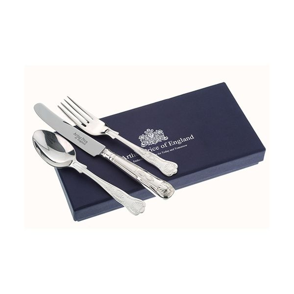 Arthur Price Of England 18/10 Stainless Steel Kings Design Childrens 3 Piece Cutlery Gift Box Set