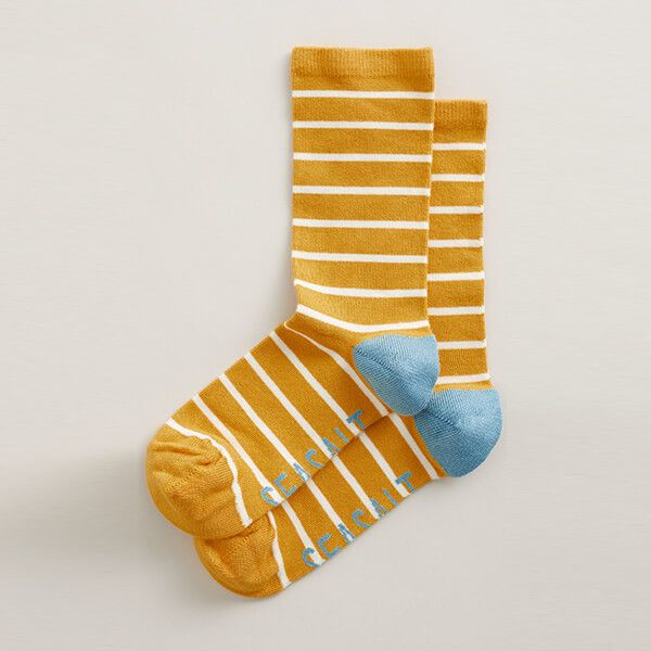 Seasalt Womens Sailor Socks Breton Sunglow
