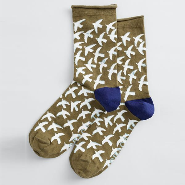 Seasalt Womens Arty Sock St Ives Gulls Bright Olives