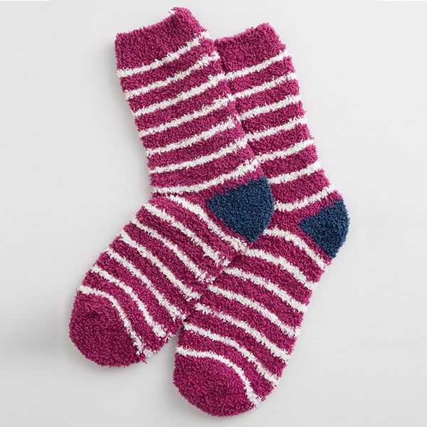 Seasalt Fluffies Socks Short Breton Wine