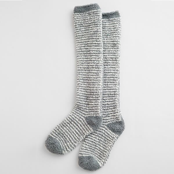 Seasalt Fluffies Socks Long Mini Stripe Ecru Stormcloud